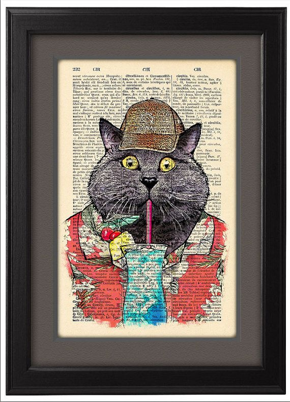 Cat Funny poster, Happy Hawaii Cat, old Dictionary book page Print  poster, Hawaii Cat Gift poster, Dorm College Home Wall decor, CODE/143