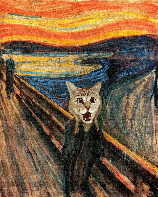 """Nala The Shocked Cat in """"The Scream"""" by Edvard Munch. 