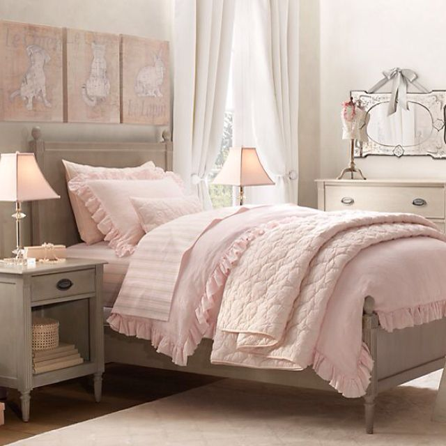 Pink And Gray Girls Bedroom