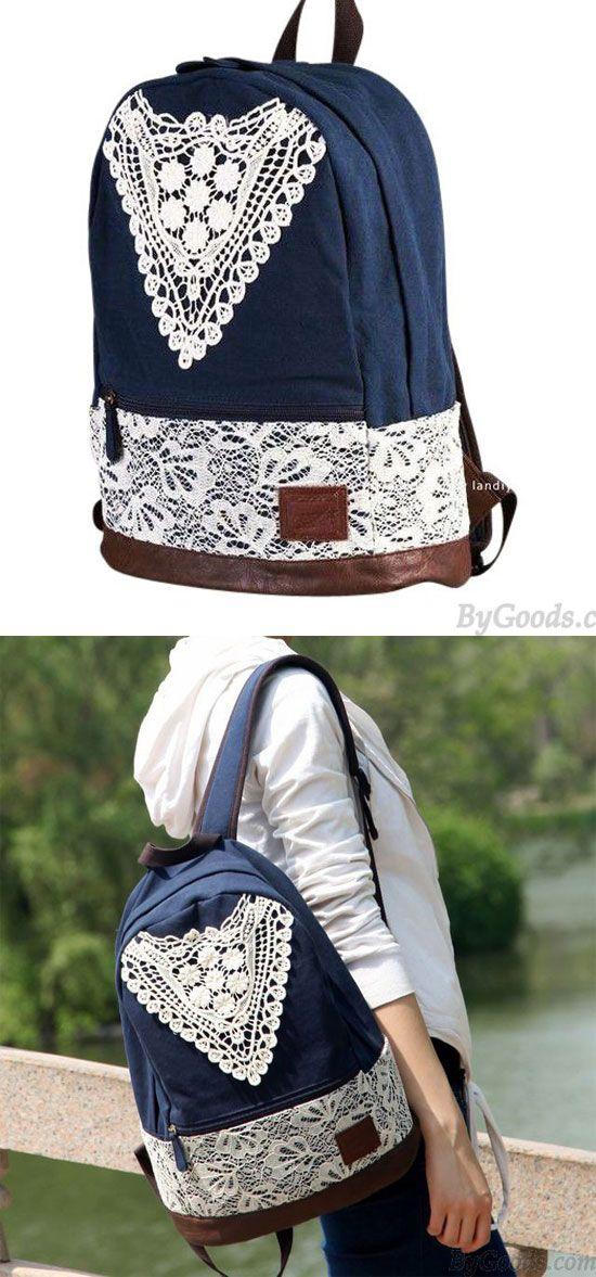 Fashion College Style Triangle Lace Canvas Backpack for my sister ! #lace #canvas #backpack #college #fashion #bag