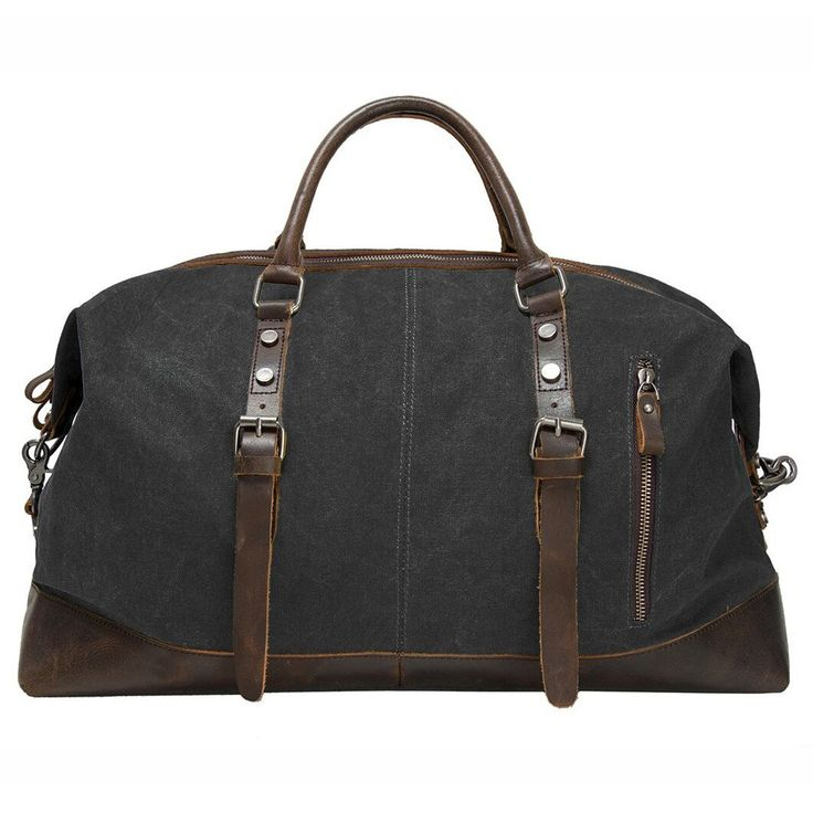 Black canvas & leather duffel bag for your vintage style weekend travel