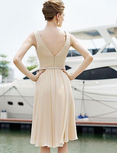 Cocktail Party Dress Sheath/Column Jewel Short/Mini Chiffon Dress – CAD $ 208.49