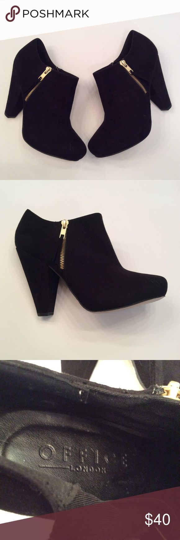 Office London black suede side zipper ankle boots Office London black suede side zipper ankle boots, he'll is 4 1/2 inches, these were purchased in London size 40 EUC questions??? Please ask Office London Shoes Ankle Boots & Booties