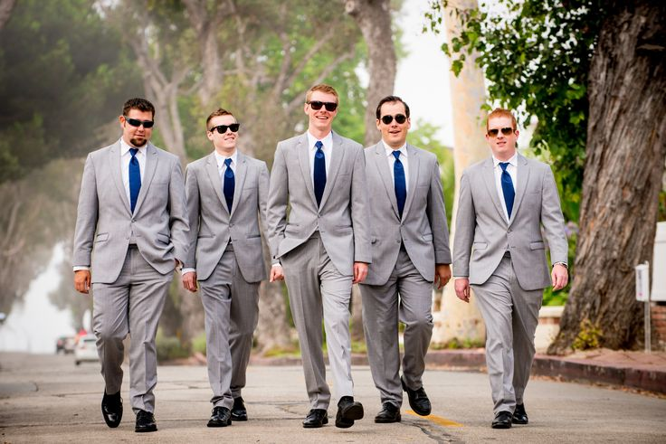 Groom and groomsmen light gray suit and navy tie | Our Wedding