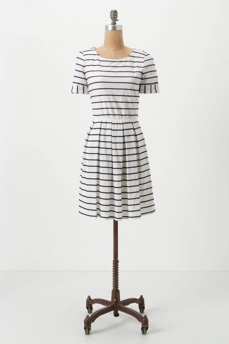 scalloped striped dress / anthropologie