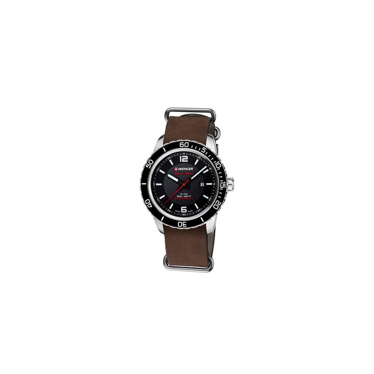 Men's Wenger Roadster Black Night - Swiss Made - Black Dial Leather Nato Strap watch - Brown, Size: Medium