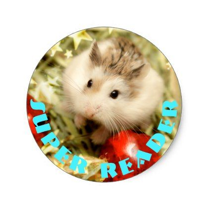 Hammyville - Cute Hamster Super Reader Classic Round Sticker - fun gifts funny diy customize personal