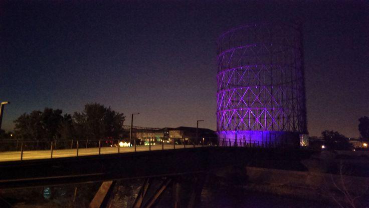 Gasometer in the night