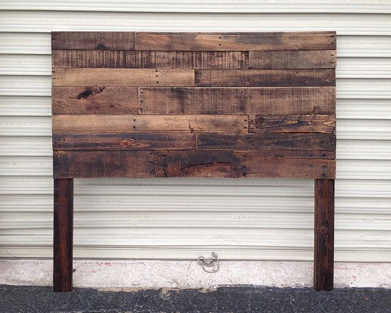 Pallet Headboard Dark Walnut Twin Full by SibusFurnitureDecor