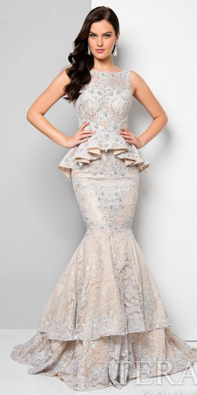e399fcd2889b Beaded Lace Peplum Tiered Mermaid Evening Gown by Terani Couture ...