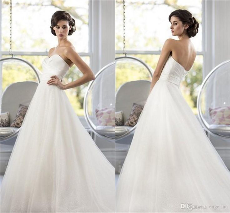 Latest Bridal Gowns 2015 Sweetheart Neckline Wedding Dresses Sleeveless With Lace Up Back Ruched Tulle Sweep Train A Line Garden Wedding Bridal Gowns Custom Ah7 Panina Wedding Dresses From Engerlaa, $152.88| Dhgate.Com