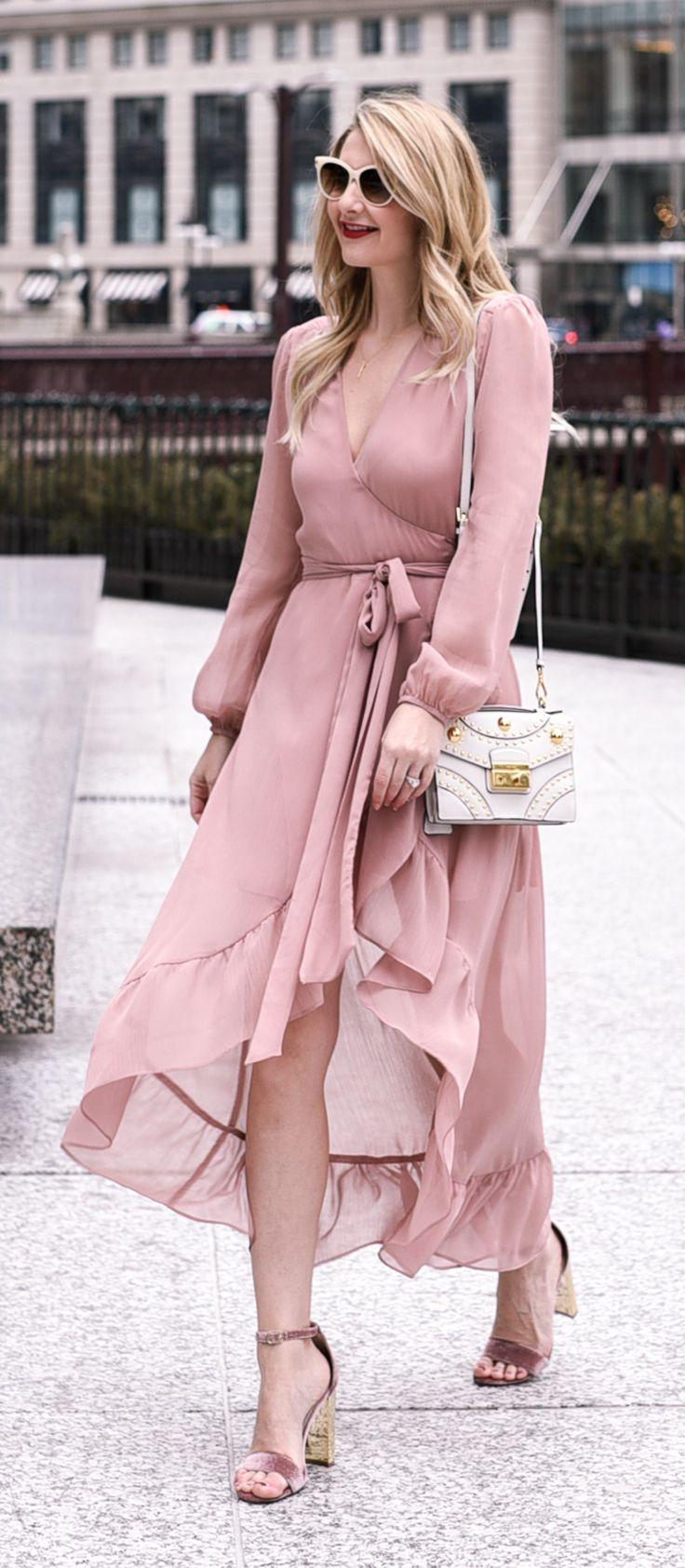 Blush ruffled wrap dress.