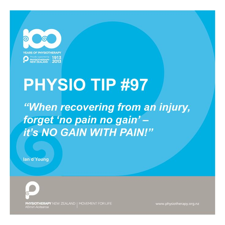 #physio tip. When recovering from an injury forget no pain no gain.
