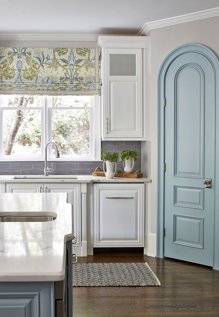 custom curved aqua blue pantry door