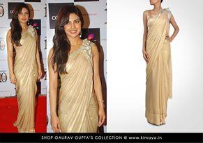 Priyanka Chopra in a Gaurav Gupta sari. Available at: www.kimaya.in
