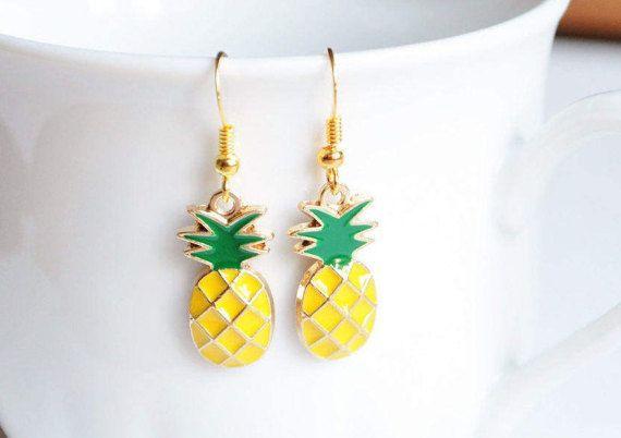 Pineapple earrings Gold pineapple Fruit earrings Miniature