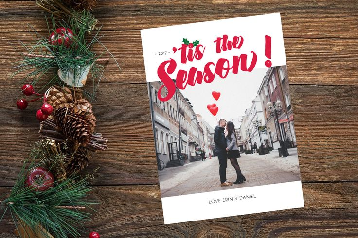Photo Christmas Card, Photo Holiday Card, Retro Christmas Card, Newlywed Holiday Card, Custom Photo Card, 'Tis The Season Card w/ holly 5x7 by yellowbellyproject on Etsy