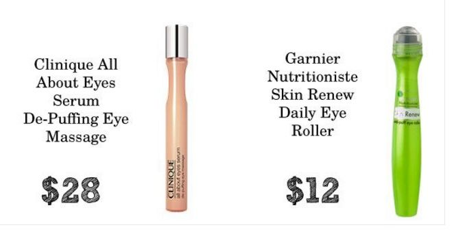 #.DUPE.# Clinique All About Eyes Serum De-Puffing Eye Massage ..... Garnier Nutritioniste Skin Renew Daily Eye Roller