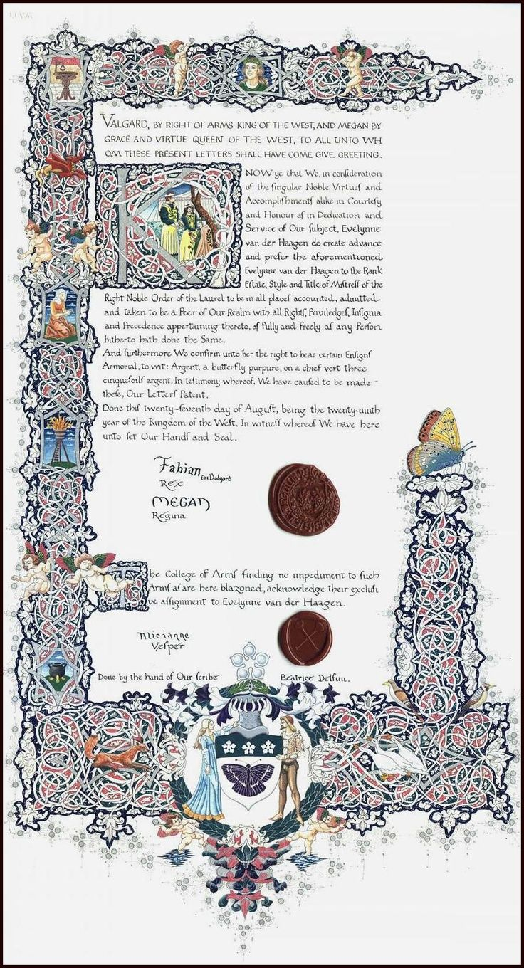 Patent of Arms (Order of the Laurel) for Mistress Evelynne van der Haagen Beatrice Delfini