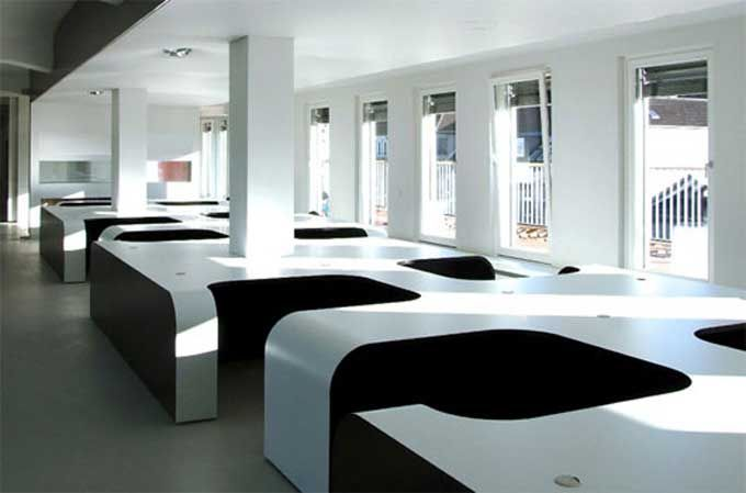 Corporate office interior design open plan law firm for Modern office interior design concepts