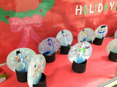Snow Globes using cardboard tubes as a base