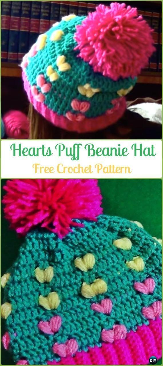 Crochet Hearts Puff Beanie Hat Free Pattern - Crochet Beanie Hat Free Patterns