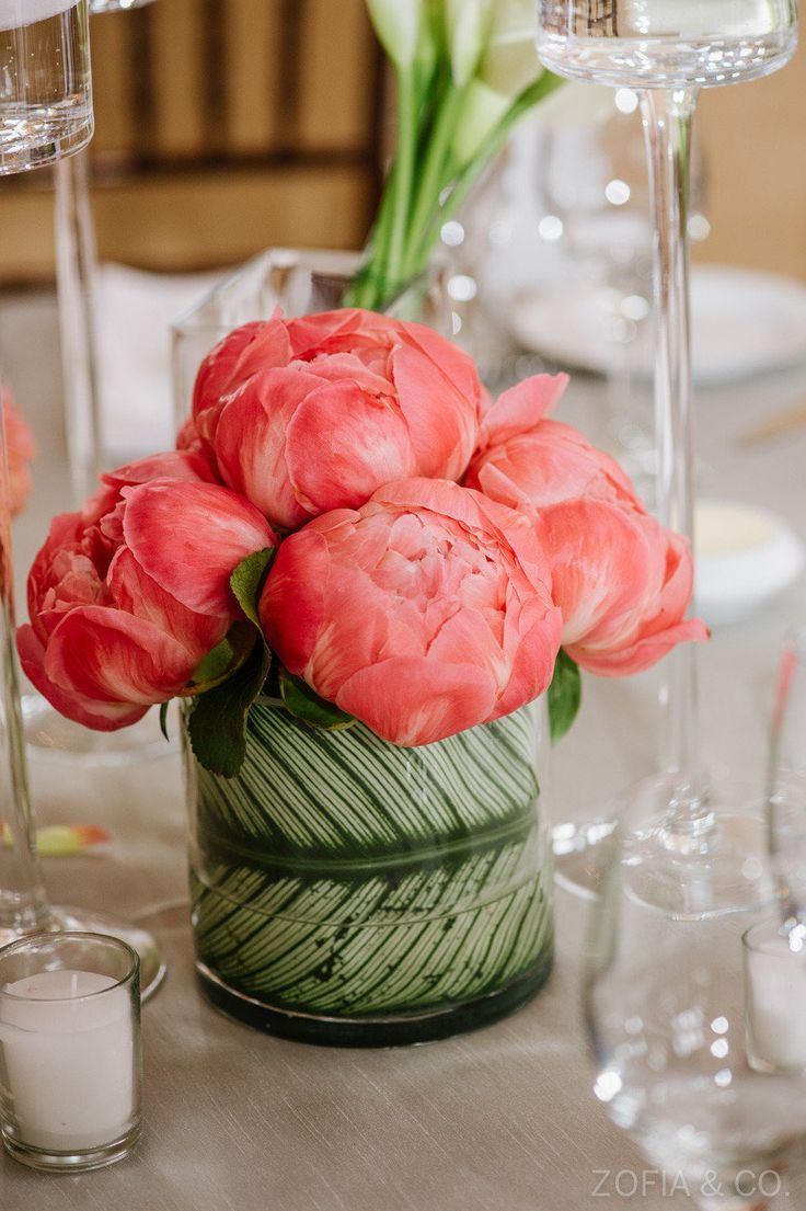 Coral Peony Centerpiece | See the wedding on #SMP Weddings ~ http://www.stylemepretty.com/massachusetts-weddings/nantucket/2013/06/25/nantucket-wedding-from-soiree-floral-and-zofia-co-photography  Zofia & Co. Photography | Soiree Floral Design