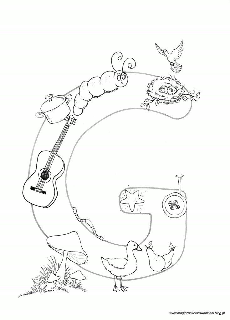 Kolorowanka literka G :)G jak :- gwiazdka- gwóźdź- guzik- gruszki- gąska- grzyby - glista- gitara- garnek- gąsienica- gniazdo( z gałązkami ^^ )- gołębicaŻyczę Miłej zabawy ! ! ! :)