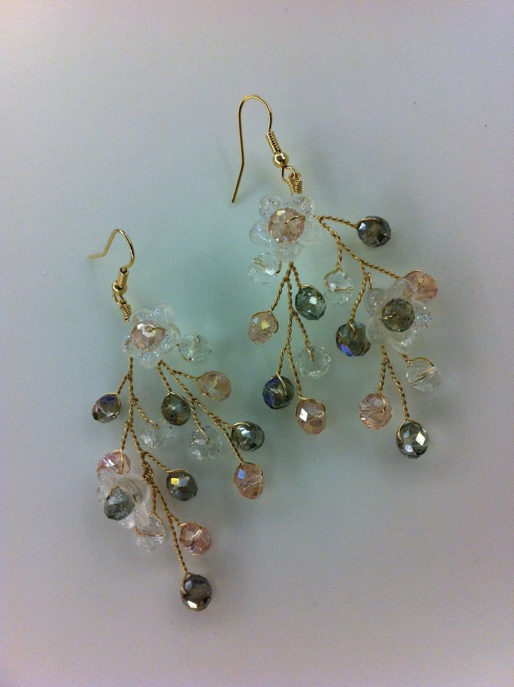 I like these!~ They look lite and fanciful! Beautiful wire wrapped jewelry earrings Czech by beadsforartist