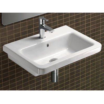 Nameeks GSI MCITY8311 City Bathroom Sink  Modern rectangular white ceramic wall hung or self rimming bathroom sink. Washbasin comes with overflow and no