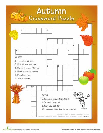 fall crossword puzzle homeschool pinterest worksheets fall and autumn activities. Black Bedroom Furniture Sets. Home Design Ideas
