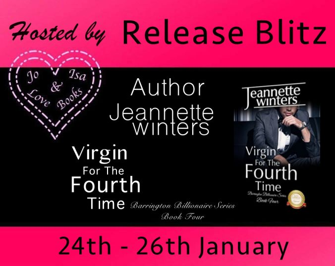 Happy Release Blitz To Jeanette Winters And A #Free Book For You From Her!  .. RELEASE BLITZ..   Virgin For The Fourth Time  By Jeannette Winters  Hosted by Joandisalovebooks  Barrington Billionaires Series: Book four is NOW LIVE! Available on Amazon iBooks Barnes & Noble.  BOOK LINKS  iBooks http://ift.tt/2hSbMJO  Amazon http://amzn.to/2aJZiDC  AmazonUK http://amzn.to/2i5c693  BLURB  Can his love protect her from her past?  Bennett Stone has dedicated his life to protecting and saving lives…