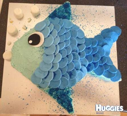 For my sons 1st birthday I made him a blue fish cake, the cake was made with 2 round sponges 1 cut to make the lips, fins and tail. Then I covered it with blue buttercream and coloured and cut out fondant circles for the eye and scales. Once all the scales were on I covered it in edible glitter and blue sugar and added some white marshmallows for bubbles.