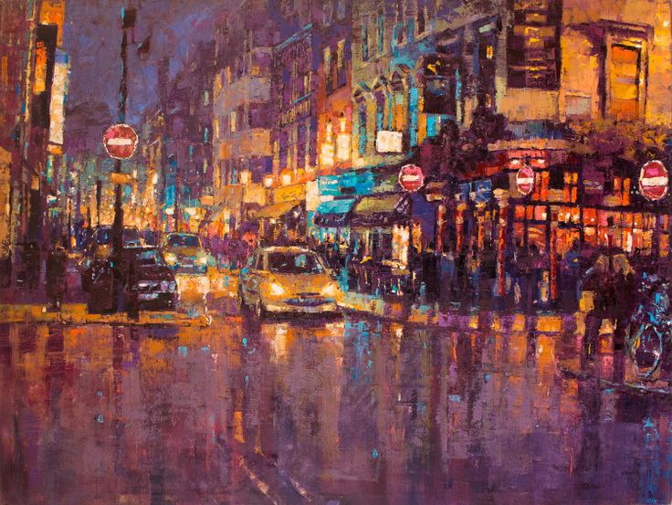 Cityscape oil painting  Romily Street, London. Oil on canvas, 48inches by 36 inches by Jamel Akib