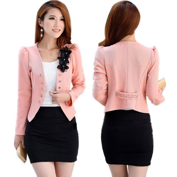 Women Tops Slim Suit OL Blazer Flower Short Coat Jacket