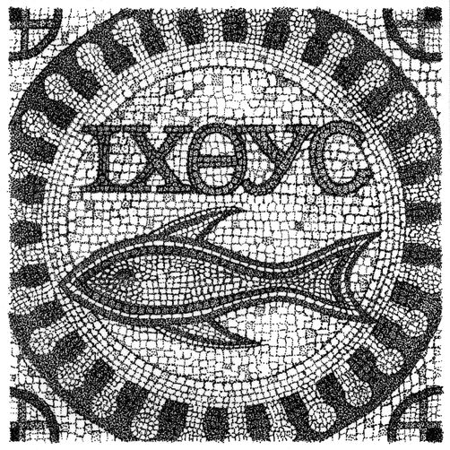early christian symbol ichthus in mosaic ancient