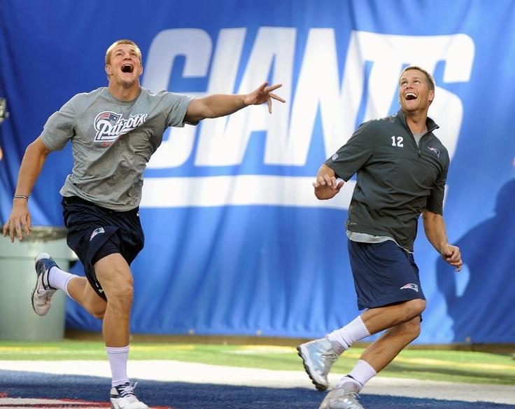 Rob Gronkowski and Tom Brady. Ha Ha Ha  they look like they're having so much fun !