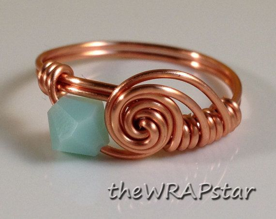 Copper Ring Wire Wrapped Jewelry Handmade Wire Wrapped Ring Swarovski Crystal…