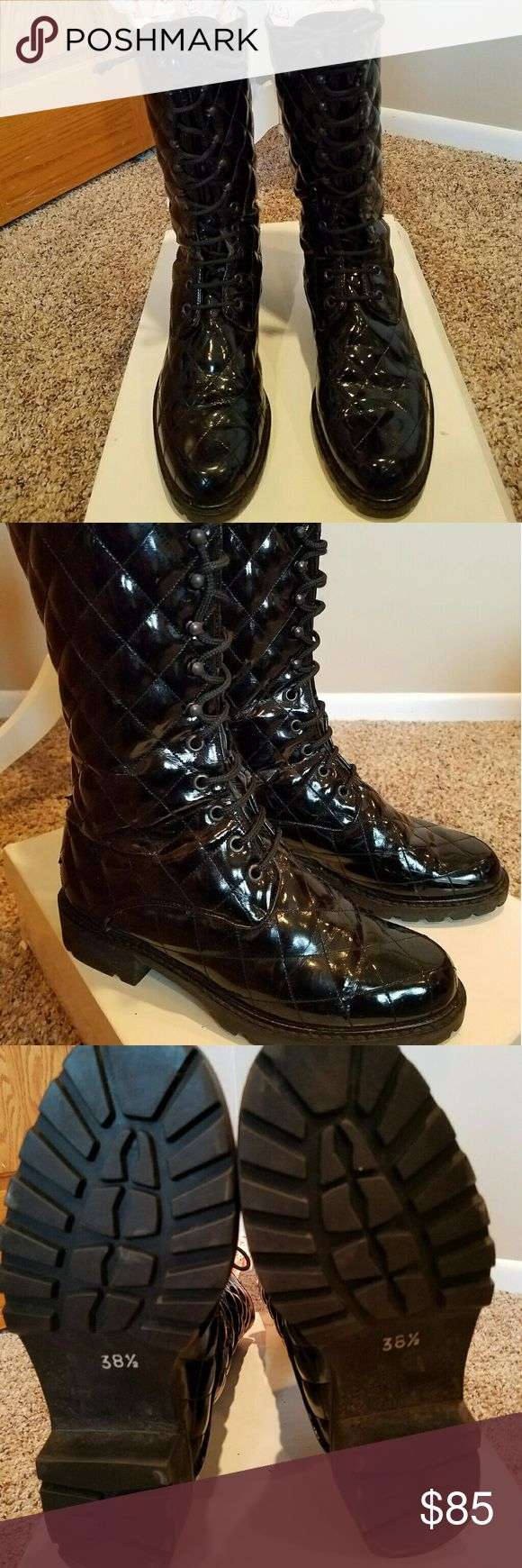 Nouchka Black Patent leather Combat Boot In style, lace up, quilted real patent leather military boots. Outstanding, with one specific flaw. The back of both boots on bottom of leather is peeling away from the center seam. Since they are black, it is hard to notice. If you can accept that, these vintage beauties are amazing. They are 38.5 and very fitted. I am a US 8 & these go right to my toe. Good for 7.5. Ends of laces do not have aglets. They are knotted & decent condition. Soles EUC…