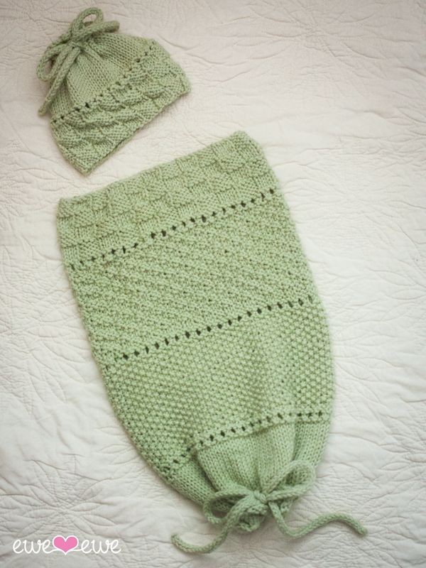 Ewe Ewe Pea in a Pod Baby Sack and Hat Knitting Pattern