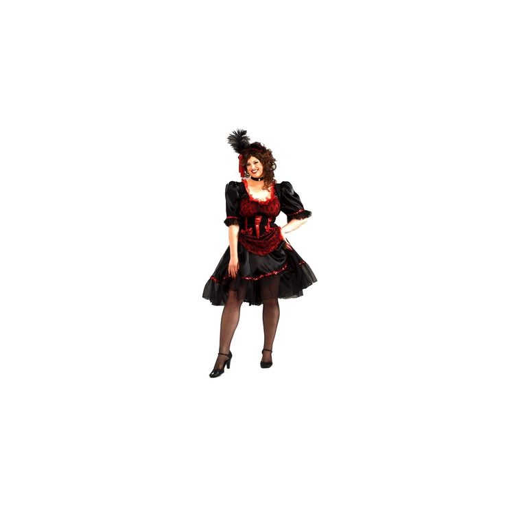Halloween Women's Saloon Girl Costume Plus Size, Size: 3XL, Black