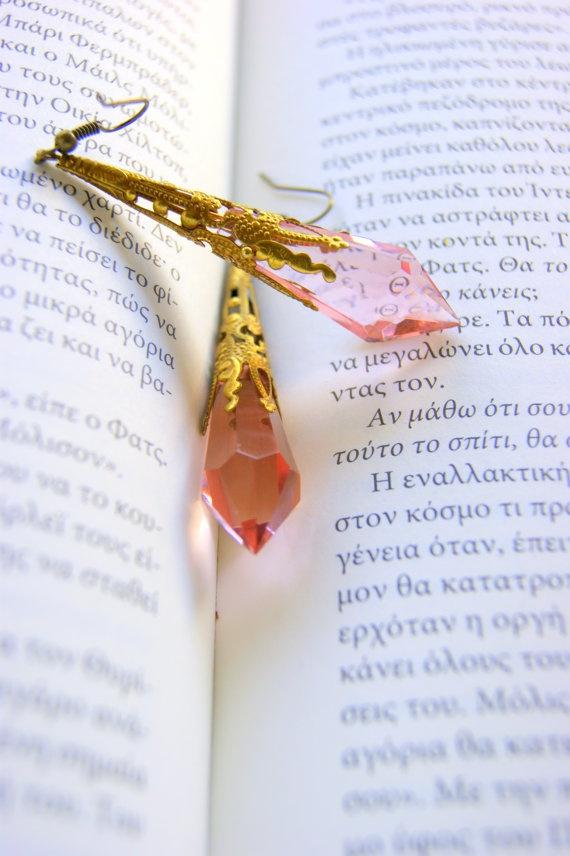 Antique earrings with Pink treardrops gemstone by RenatasArt, €20.00