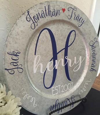Personalized Monogram Family Charger Plate! Family Names & Established Date Entryway, Living Room, Dining Room Decor Anniversary Christmas by SouthernStyleDecor1 on Etsy https://www.etsy.com/listing/478428647/personalized-monogram-family-charger