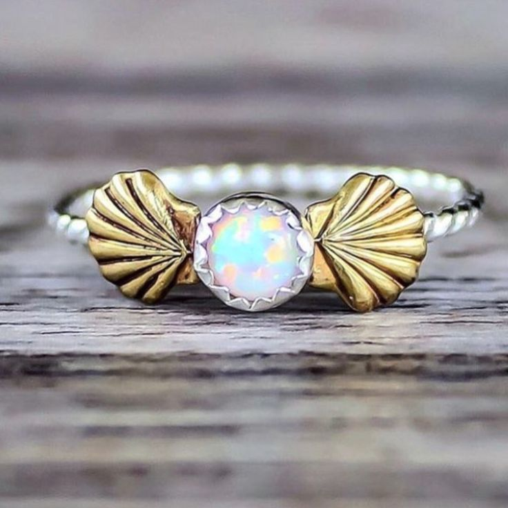 Mermaid Sea Shell and Opal Ring || Available in our 'Mermaid' Collection || www.indieandharper.com