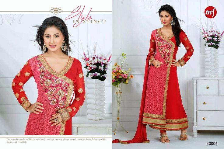 Exquisite  Straight cut Rafel Net and Georgette Semi- stitched suit with thread embroidery in Red and Pink Combination. Comes along with Santoon bottom and Chiffon dupatta.
