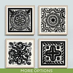 Black Medallion Tile Framed Print