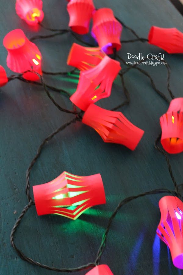 Chinese Lantern Lights!  Get ready for Chinese New Year with lantern light garland!  Fun craft for kids to make!