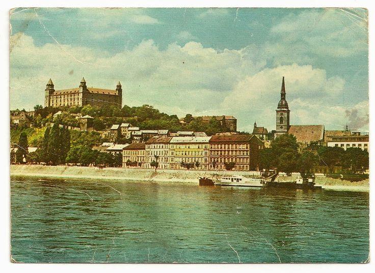 stamp and postcard: The look of Bratislava 2.9.circa 1966 hrad