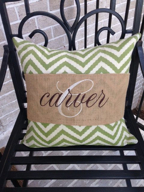 Personalized Burlap Pillow Band Wrap by MarriageAndCarriages, $20.00
