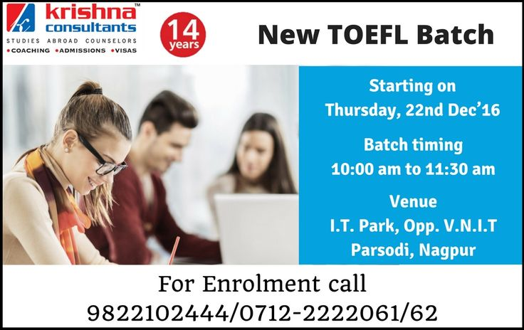 NEW BATCH ALERT - #TOEFL Coaching in Nagpur. Batch Starting on 22nd DEC, 2016. Time: 10:00 am to 11:30 am